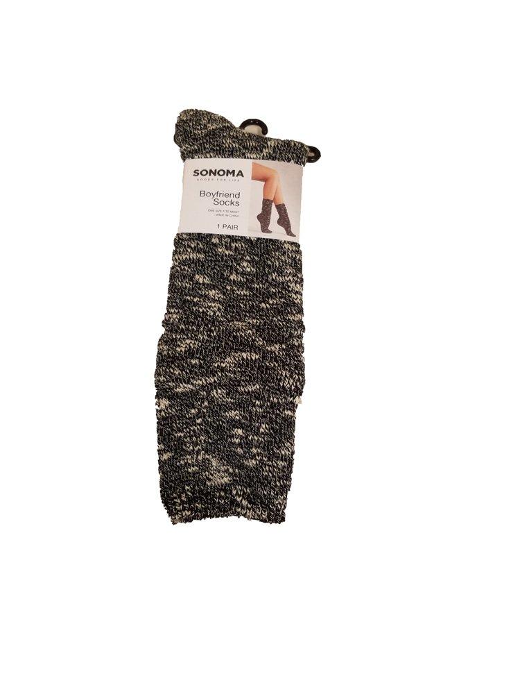 Women's SONOMA Goods for Life 1-Pair Boyfriend Socks Black 9-11