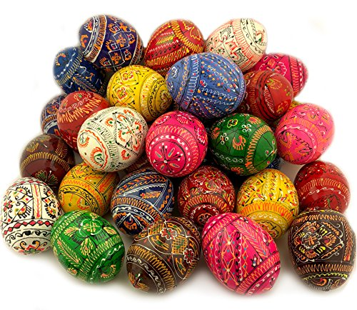 Religious Gifts 10 Assorted Colorful Hand Painted Wooden Ukrainian Pysanky Easter Eggs 2 1/4 Inch ()