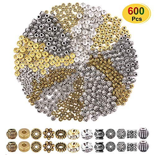600pcs Alloy Spacer Beads Jewelry Bead Charm Spacers for Jewelry Making Bracelets Necklace, Crafts Gold Silver Spacer Beads(12 Styles,Silver and Gold)