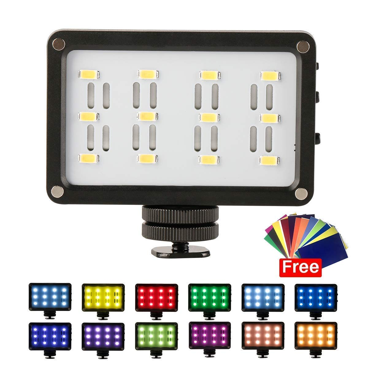ULAZNI CardLite LED Video Light on Camera - Rechargeable Built-in Battery CRI 95 Photo Light with 12 Color Gels for Canon Nikon DSLR Camcorders Zhiyun Smooth 4 Gimbal Photographyic Lighting
