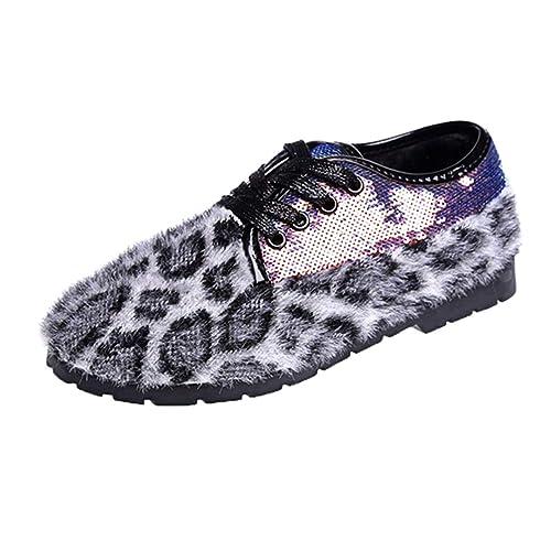 Mujer Mocasines Pisos con Cordones Hecho A Mano Estampado De Leopardo DecoracióN Primavera OtoñO Flock Fleeces Casual Zapatos De TacóN Bajo: Amazon.es: ...