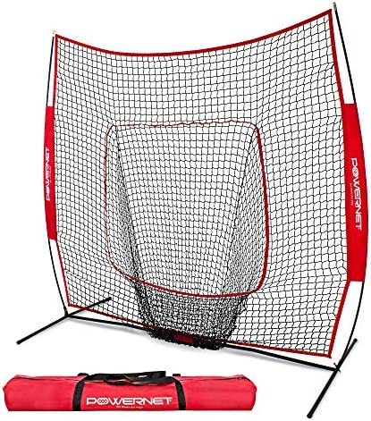 PowerNet Baseball and Softball Practice Net 7 x 7 with Bow Frame
