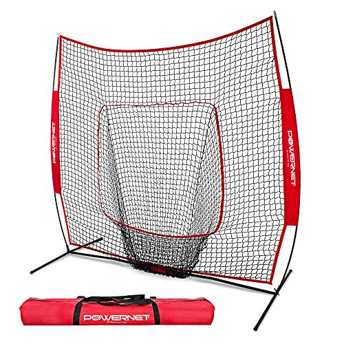PowerNet Baseball and Softball Practice Net 7 x 7 with bow frame (Top 10 Home Run Hitters Of All Time)