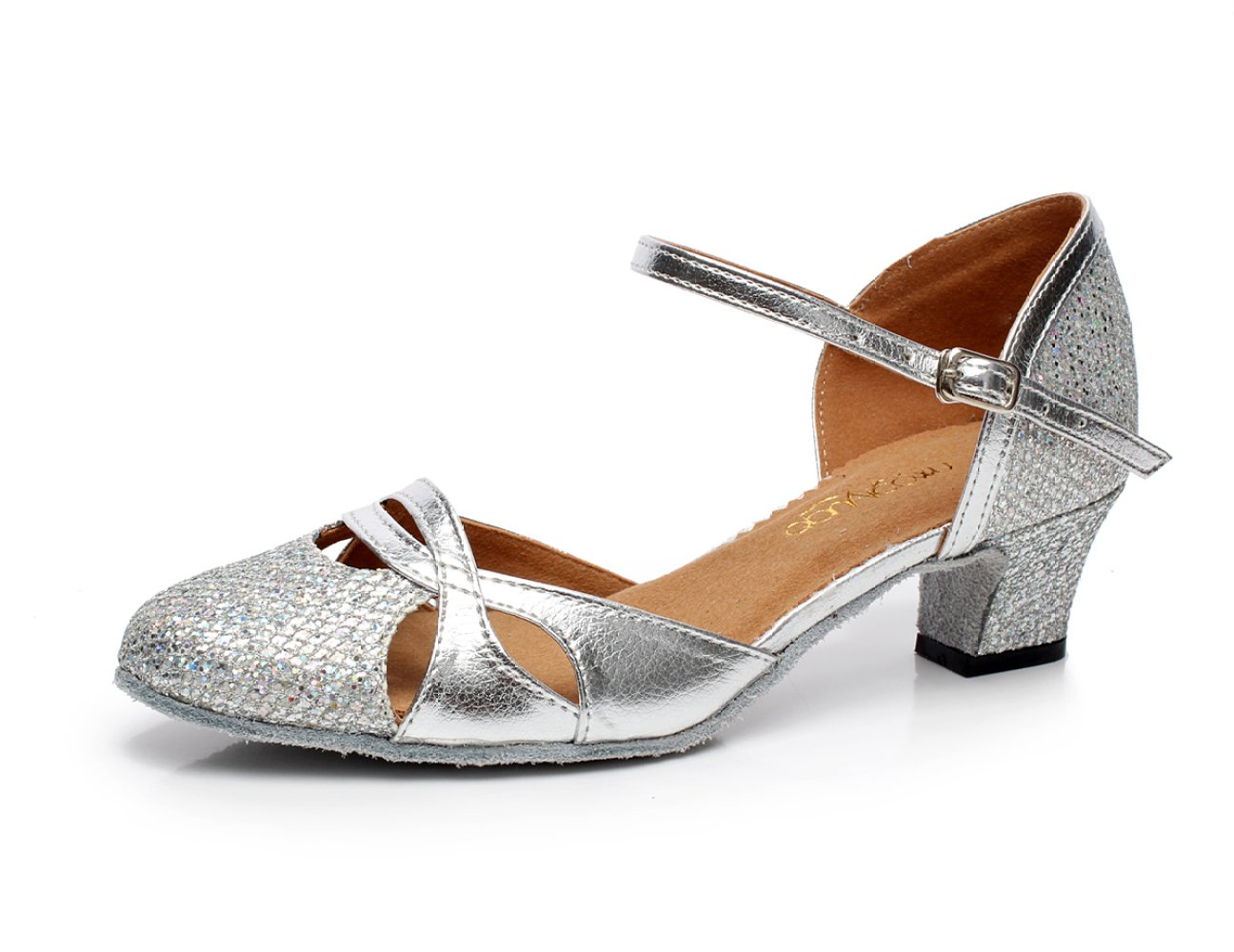 JSHOE Damen Pailletten Round Toe Latin Tanzschuhe Salsa/Tango/Tee/Samba/Modern/Jazz Schuhe Sandalen High Heels,GoldHeeled6cm-UK5.5/EU38/Our39  UK5.5/EU38/Our39|Goldheeled6cm