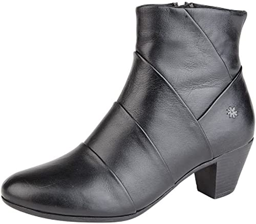 Cipriata Womens Ladies Leather Comfort Mid Heel Ankle Boots Memory Foam Black Size 3 4 5 6 7 8