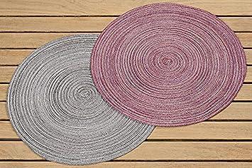 Tischset Polyester Rot Oder Grau Ø 38 Cm, Untersetzer, Wohnzimmer, Deko (rot