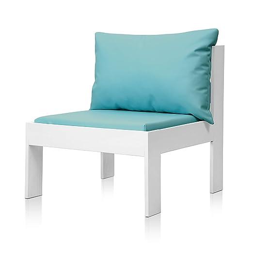 SUENOSZZZ - Sofa Jardin de Madera de Pino Color Blanco, MEDITERRANEO Mod. Respaldo, Sillon cojín Polipiel Color Turquesa. Muebles Jardin Exterior. ...