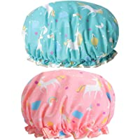 Double Bath Caps Waterproof Plastic Lace Elastic Band Hat Reusable for Girls and Women Shower Pack of 2