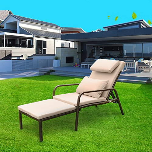 Tangkula Patio Reclining Chaise Lounge Outdoor Beach Pool Yard Porch Wicker Rattan Adjustable Backrest Lounger Chair (Pull Out) by Tangkula (Image #3)