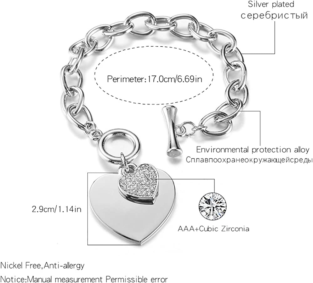 bracciale a forma di cuore Bracciale con ciondolo a forma di catena placcato in argento con cristallo Bracciale con maglie a forma di cuore