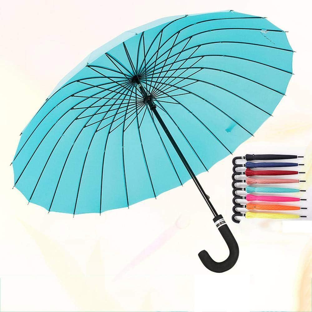 TtKj Folding Umbrella Outdoor Solid Color 24 Bone Straight stem Creative Long Handle Clear Umbrella