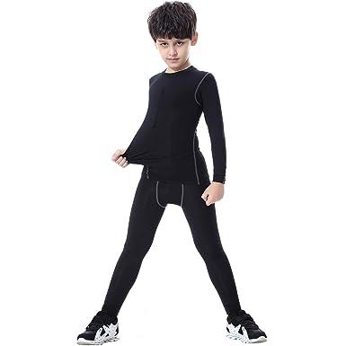 0688e04e75 TERODACO Kids Compression Shirts and Pant 2 Pcs Thermal Underwear Set Base  Layer