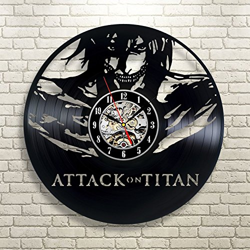 Attack on Titan Vinyl Record Wall Clock Decor for Home Best Gift for Any Events Gift for Him Gift for Her