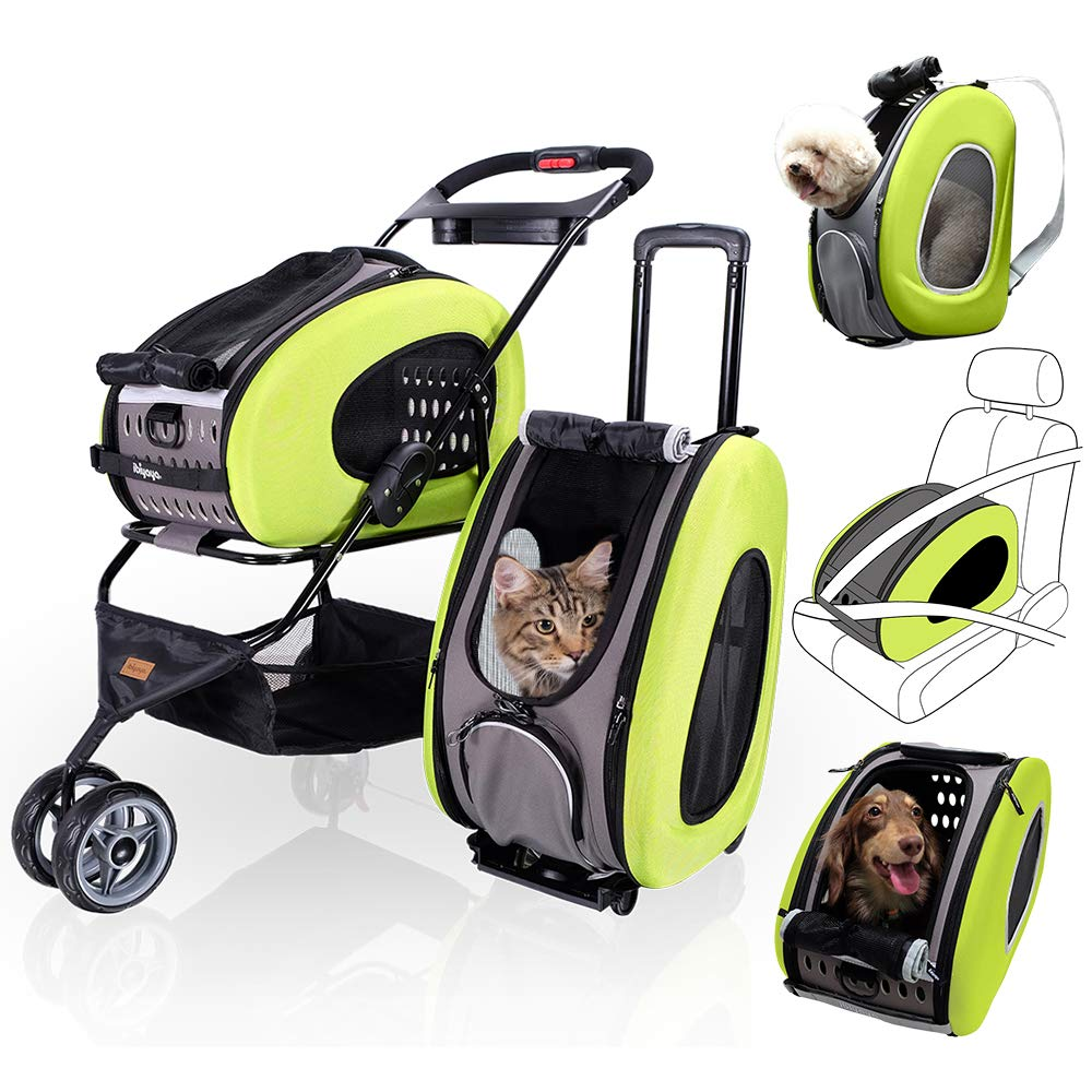 5 in 1 Pet Carrier + Backpack + CarSeat + Pet Carrier Stroller + Carriers with Wheels for Dogs and Cats All in ONE (Green) by ibiyaya