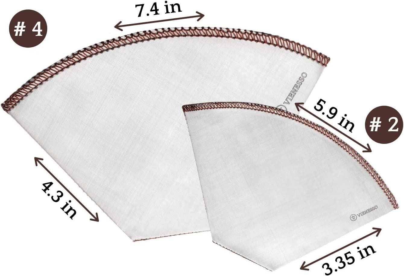 Sustainable Paperless Cone Filters for Coffee Machines and Makers 2 Stainless-Steel Mesh Filters Bundle VIENESSO Reusable Coffee Filters Sizes #2 and #4 Great for Drip-Feed and Pour Over