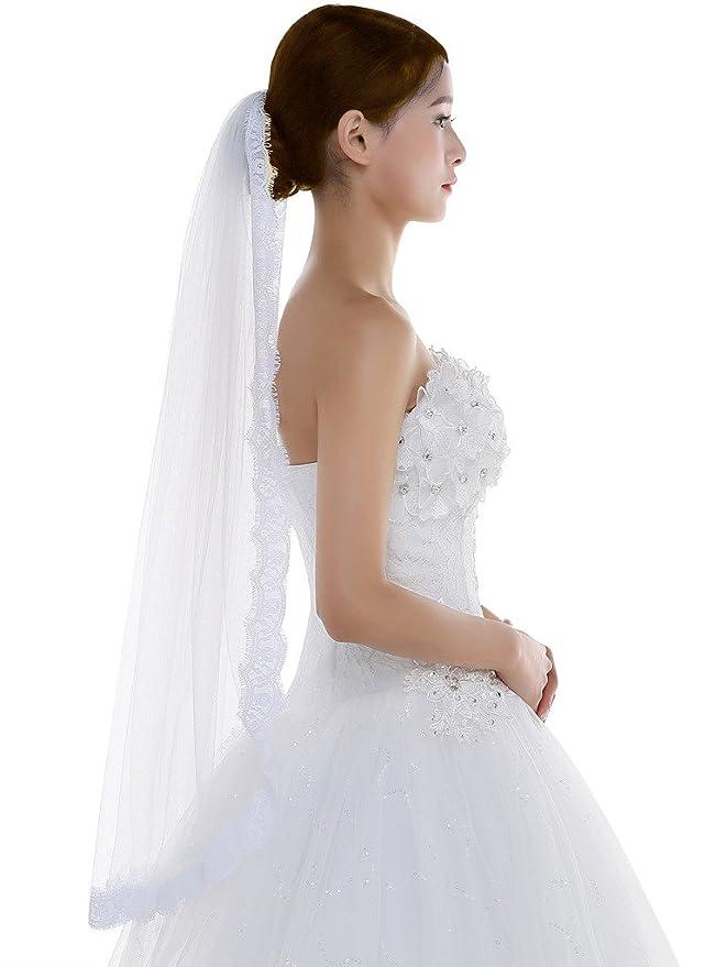 6c5c38c63c Edith qi 1 capa encaje borde de tul velo de novia de la boda con el peine   Amazon.es  Ropa y accesorios
