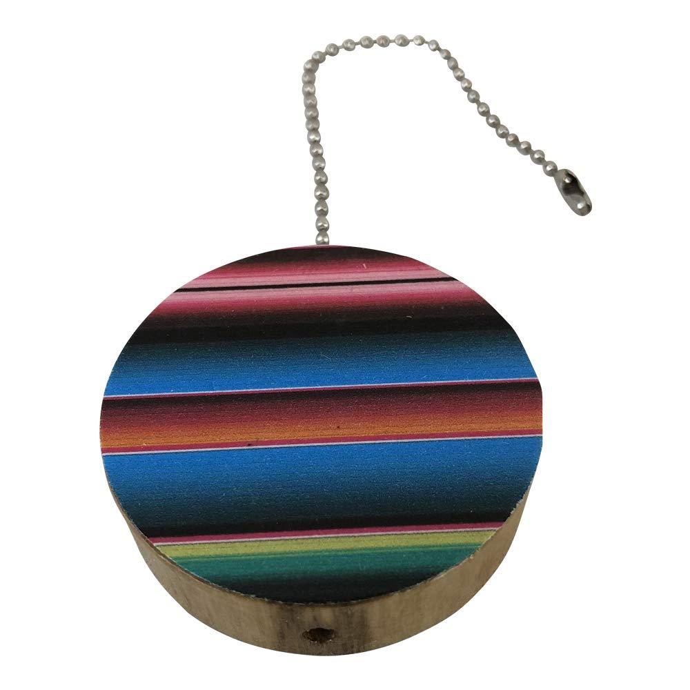 Turquoise Serape Round Wood Fan//Light Pull