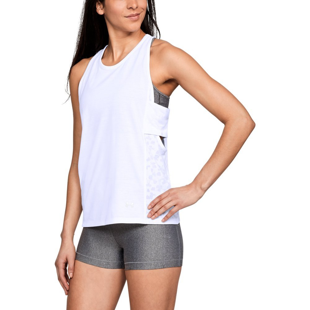 Under Armour Women's Essential Banded Tk Graphic Top, White (100)/Tonal, Small