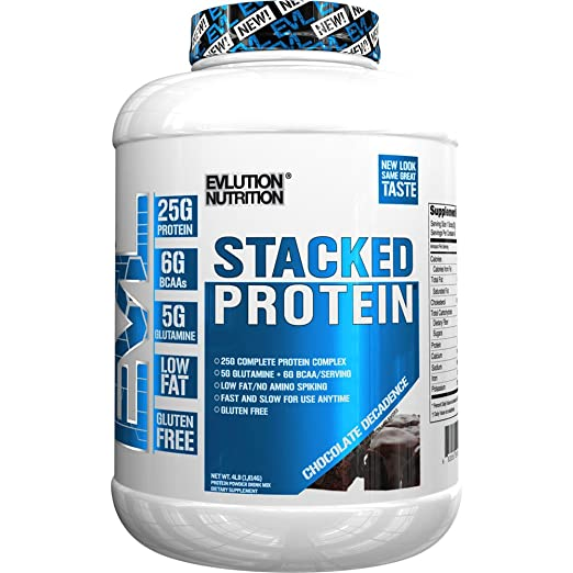 Evlution Nutrition Stacked Protein Powder with 25 Grams of Protein, 5 Grams of BCAA's and 5 Grams of Glutamine - 1.81 kg (Chocolate Decadence) S at amazon