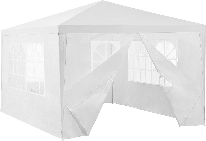 [casa.pro] Carpa Pabellón para Jardín 400 x 300 x 255cm Quiosco Gazebo Cenador de jardín Estructura de Metal Plegable Blanco