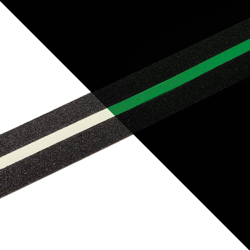 NAC INDUSTRIAL Glow in the Dark Anti Slip Tape NAC SAFETY GLOW Photoluminescent Non Slip Grip for Safety, Stairs, Steps, Ladders (2'' x 60 feet, Line)