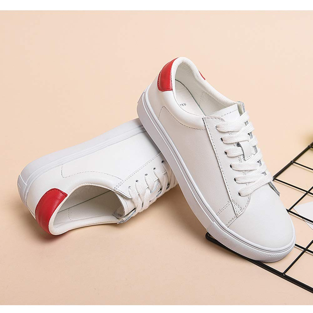 Damenschuhe HWF Damen PU Schuhe Turnschuhe Low Top Lace Up Fashion Fashion Up Wanderschuhe (Farbe   Weiß rot größe   39) 8df83a