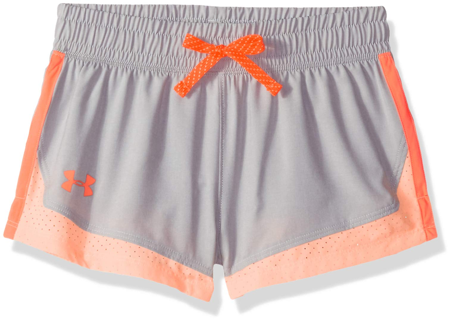 Under Armour Girls' Sprint Shorts, Overcast Gray Light (942)/After Burn, Youth X-Small