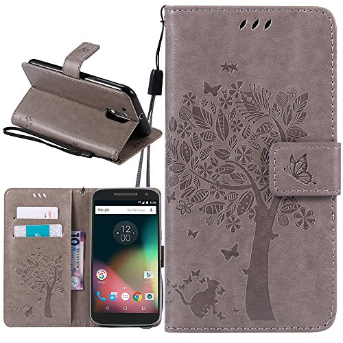 Moto G4 Play Case, Harryshell Caving Tree Kickstand Flip PU Wallet Leather Protective Case Cover with Card Slot & Wrist Strap for Motorola Moto G Play Version (2016) / G4 Play (Gray)
