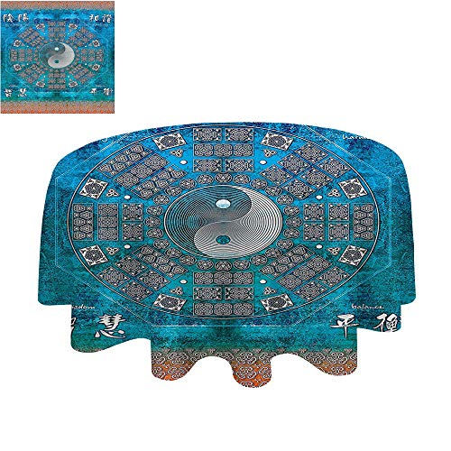 SATVSHOP Small Round tablecloth-70Inch-Great for Buffet Table, Parties, Holiday Dinner & More.Home Ying and Yang Octagon Circle with Asian Ethnic Balance Wisdom and Harmony Yoga Art Teal Orange. - Harmony Gathering Table Set