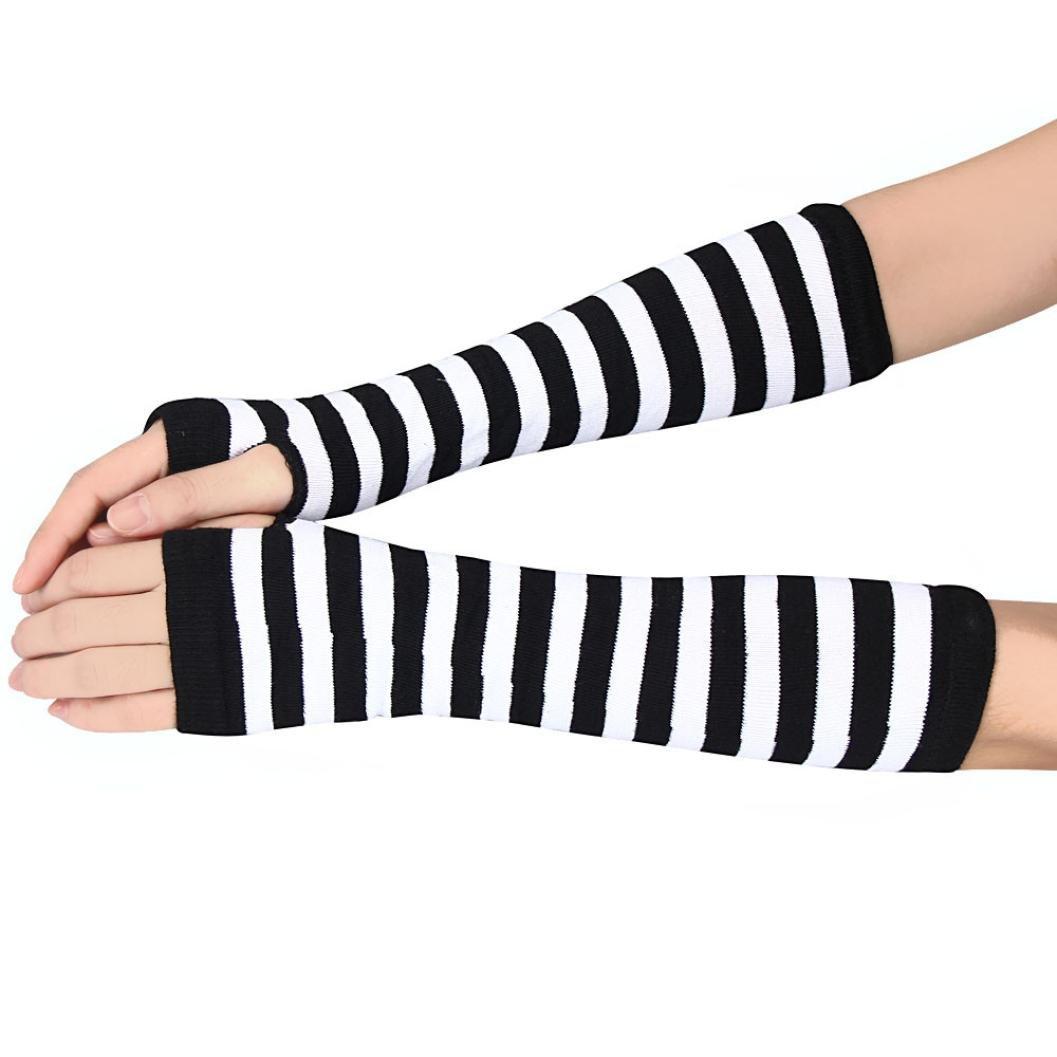 Perman Unisex Winter Wrist Arm Hand Warmer Knitted Long Fingerless Gloves Mitten (White )