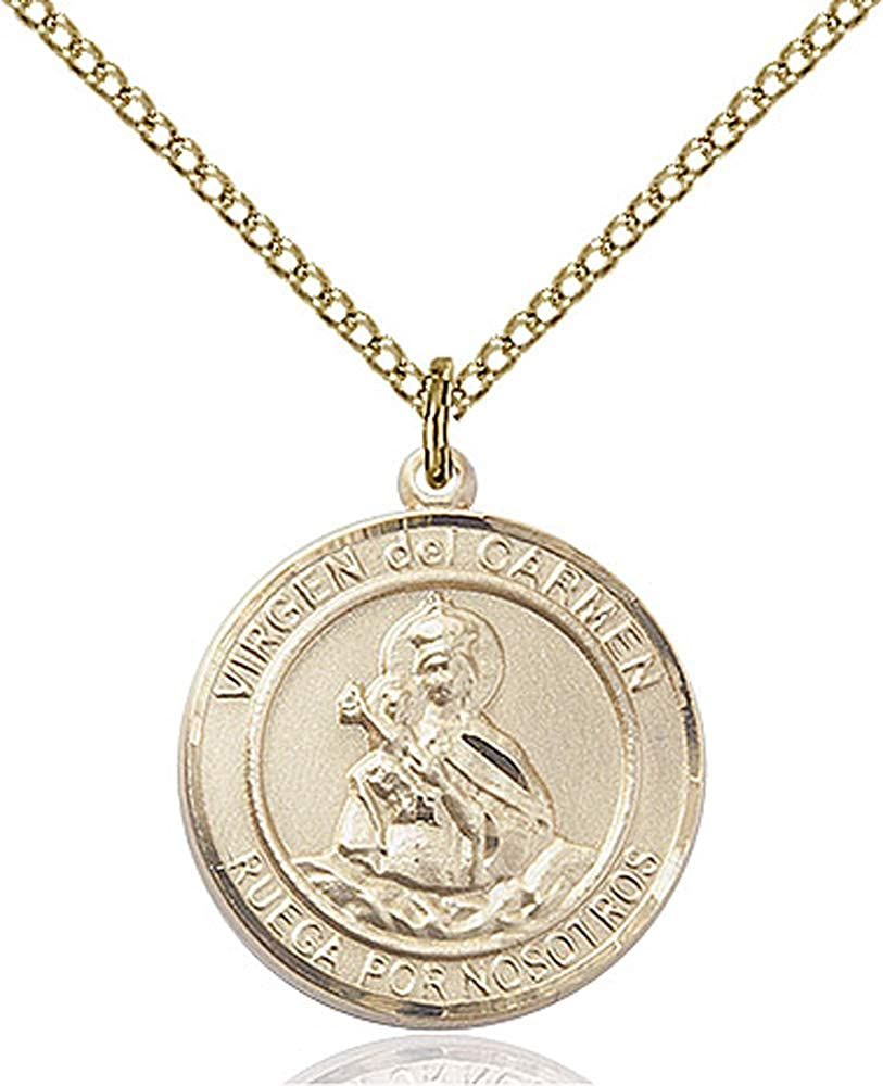 14kt Gold Filled Virgen del Carmen Pendant 18 inch Gold Filled Curb Chain Patron Saint 3//4 x 5//8