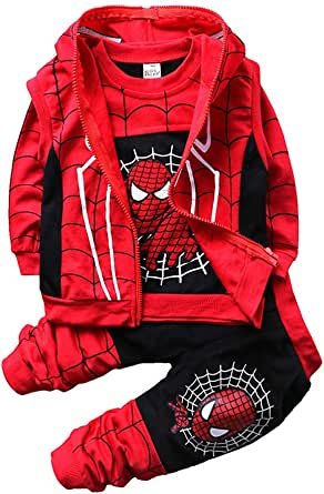 Ropa Niño Spiderman Sudaderas con Capucha Manga Larga Conjuntos Camisetas Tops Pantalones Bebé Abrigo