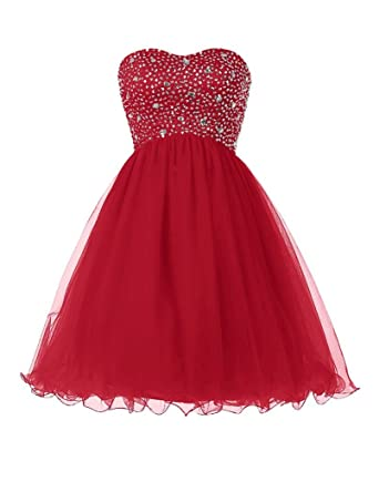 Elinadress Short Beaded Homecoming Dress Tulle Sweetheart Prom Dress Lace Up Back (Dark Red)