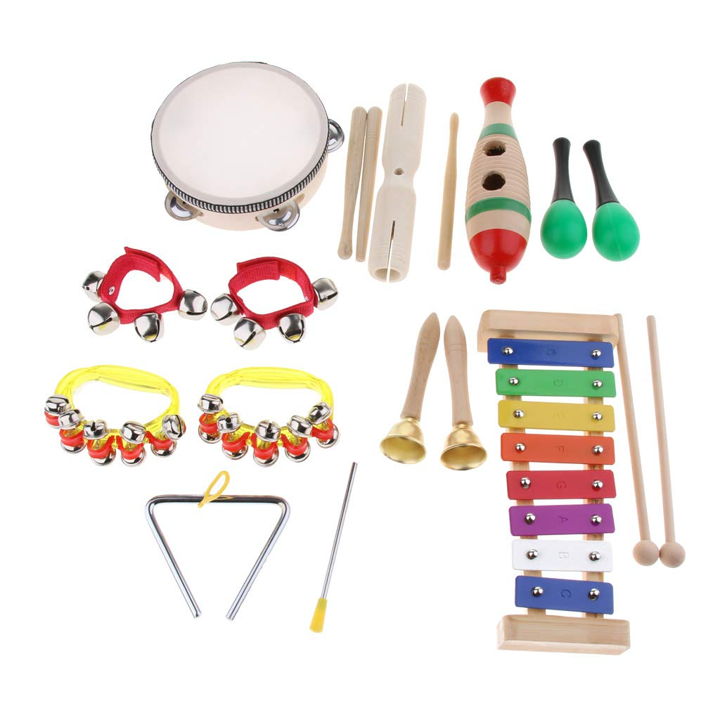 Flameer 13pcs Percussion Instrument Set Xylophone Tambourine Maracas Handbell for Children Kids Musical Rhythm Toy Christmas Gift