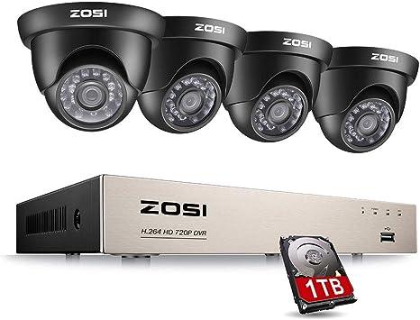ZOSI Sistema de Vigilancia 720P CCTV Kit de Cámaras Seguridad 8CH ...