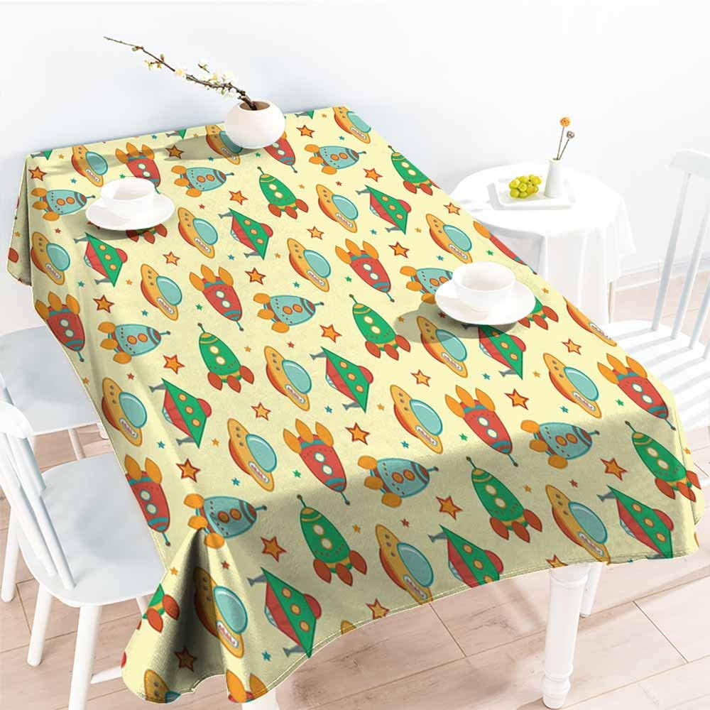 Onefzc Outdoor Tablecloth Rectangular,Spaceship Childrens Cartoon Fantastic Space with Rockets Flying Through The Vast Universe,Fashions Rectangular,W60X90L Multicolor
