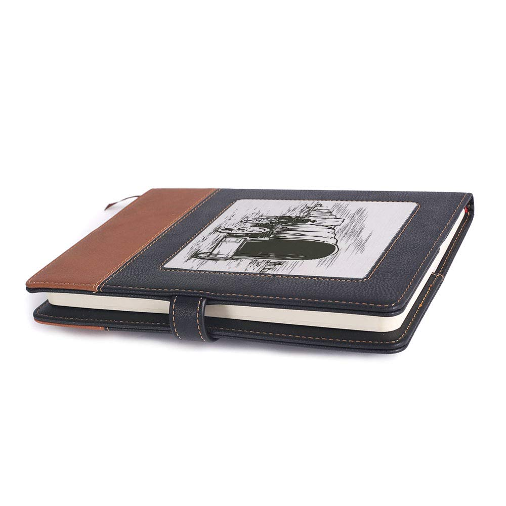 Environmental-friendly notebook,Western,A5 ,for multiple purposes,Graphic Design of Wild West Cowboy Hat and, 6.1 x 8.6