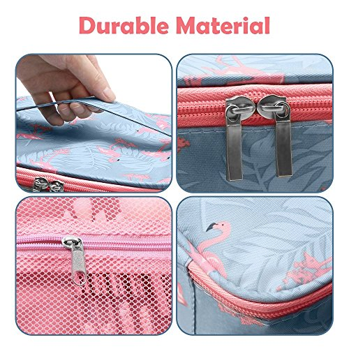 Portable Travel Makeup Bag, DOFLY Waterproof Multifunction Makeup Case Cosmetic Organizer Bag for Women and Girl(Pink blue)