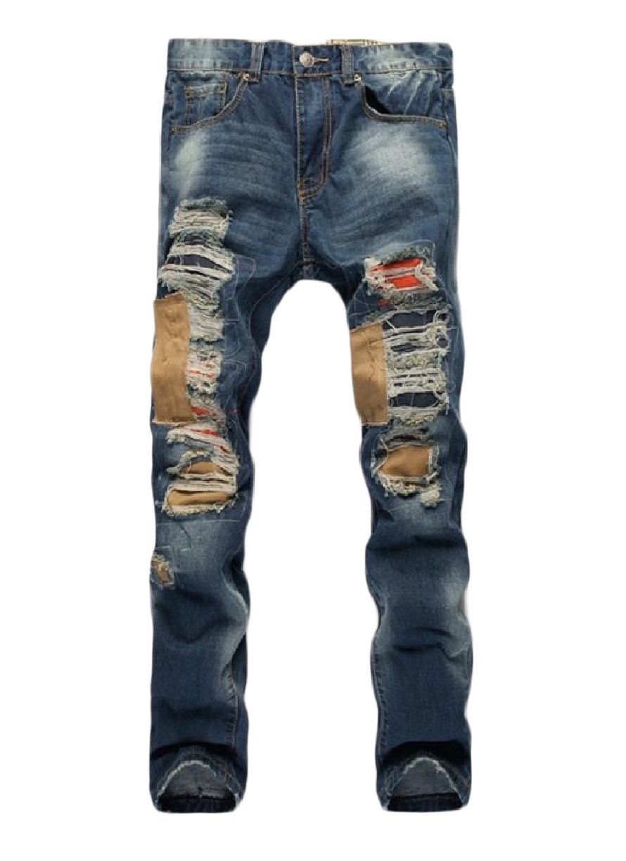 XiaoShop Men's Stylish Individuality Ripped Fine Cotton Patches Relaxed-Fit Jean Blue 28