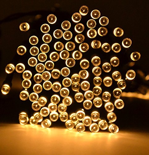 Samyo 72ft 200 LED 2 Light Modes Waterproof Solar Fairy Lights String for Outdoor Gardens Homes Christmas Lighting Party (Warm White)