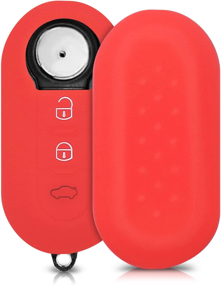 Silicone Protective Key Fob Cover Red kwmobile Car Key Cover Compatible with Fiat Lancia 3 Button Car Flip Key