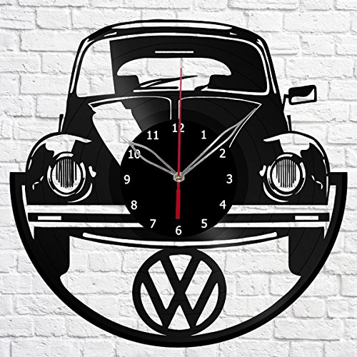 """Volkswagen Retro Car Vinyl Record Wall Clock Fan Art Handmade Decor Original Gift Unique Decorative Vinyl Clock 12"""" (30 cm)"""