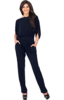 KOH KOH Womens Short Sleeve Sexy Semi Formal Cocktail One Piece Jumpsuit  Romper 6992b0081