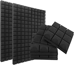 "Acoustic Foam Panels,12 Pack 2"" X 12"" X 12"" Studio Soundproofing Foam for Walls Tiles, Sound Absorbing Panels, Sound Insulation Panels for Home Studio Ceiling,9 Blocks Mushroom Design"