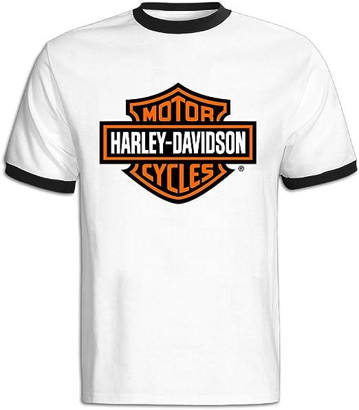 Hombres de Harley Davidson motocicleta Logo camiseta de bloque de color: Amazon.es: Libros