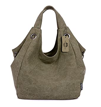KISS GOLD(TM) Women s Simple Style Vintage Canvas Totes Hobo Bag (Army Green f9fb9e1a6e