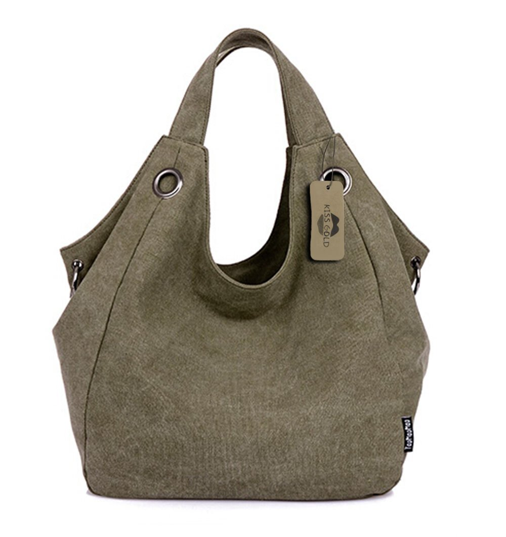 KISS GOLD(TM) Women's Simple Style Vintage Canvas Totes Hobo Bag (Army Green)