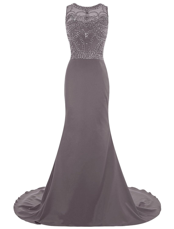 Dresstells? Long Chiffon Mermaid Scoop Prom Dress with Beading Wedding Dress Maxi Dress