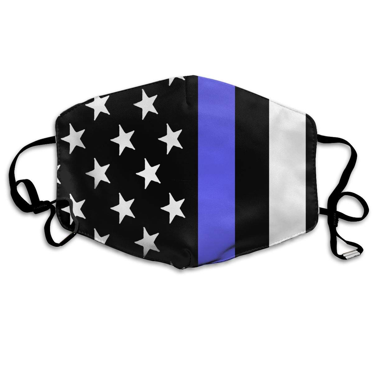 Thin Blue Line USA Flag Unisex Face Mouth Mask Ear-loop Mouth Muffle Cycling Reusable Mask