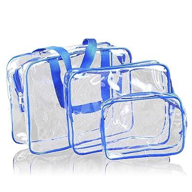 e13150f0140d Amazon.com: 3Pcs Crystal Clear Cosmetic Bag TSA Air Travel Toiletry ...
